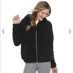 Black nwt Sherpa cozy zip up hoodie